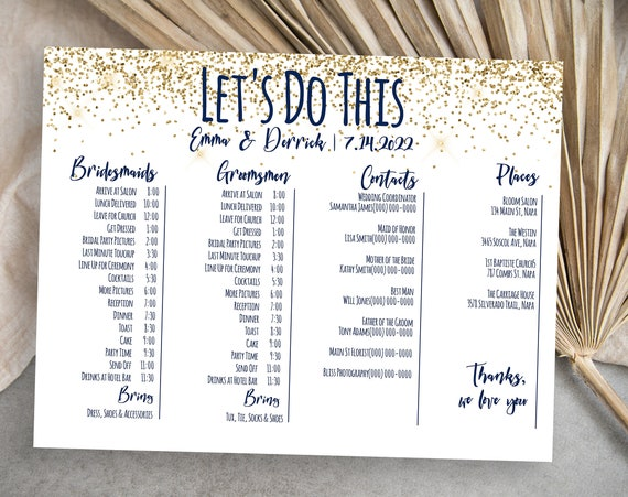 Gold Glitter Wedding Bridal Party Timeline Handout, Printable Schedule, Groomsmen Itinerary, Bridesmaid Agenda Editable PPW28 MARIN
