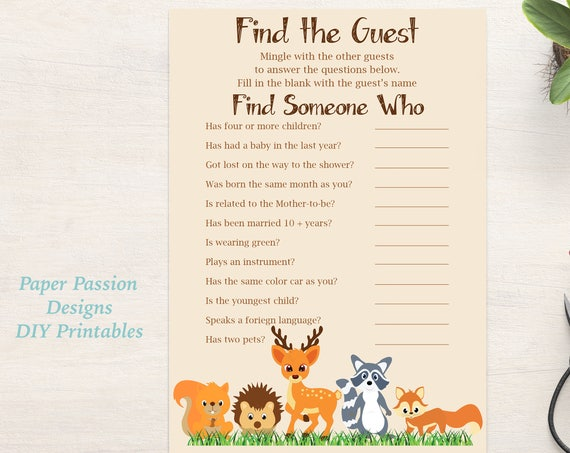Find the Guest Game ~ Woodland Animal Baby Shower Game ~ Gender Neutral Theme ~ Printable Game 0046