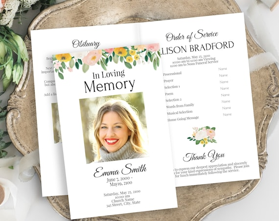 Memorial Program, Celebration of Life, In Loving Memory Funeral Card, Pink and Yellow Floral, Order of Service, Corjl Template PPF232
