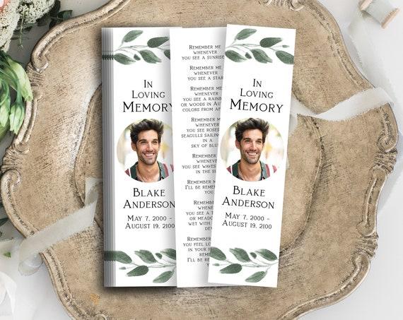 Greenery Memorial Bookmark, Celebration of Life, In Loving Memory Funeral Card, Editable Corjl Template PPF450