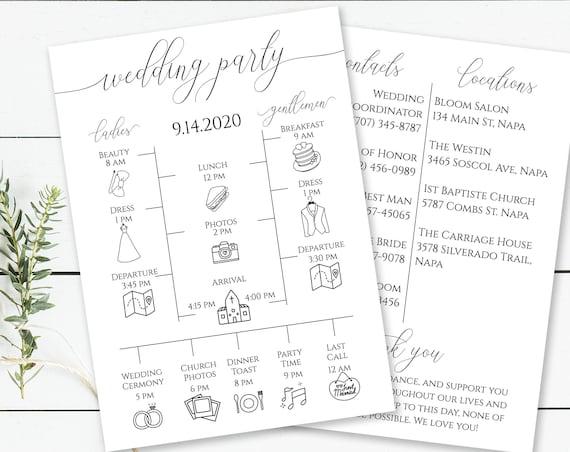 Wedding Party Timeline, Printable Wedding Day Schedule, Groomsmen Itinerary, Bridesmaid Agenda, 100% Editable, Templett  PPW0560