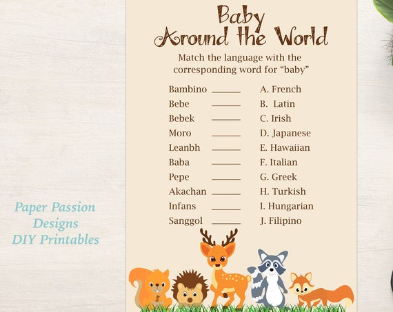 Baby Around the World Shower Game ~ Woodland Animal Baby Shower Game ~ Gender Neutral Theme ~ Printable Game 0046