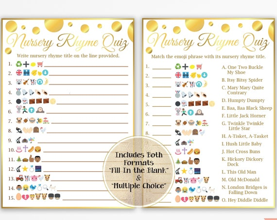 Nursery Rhyme Quiz with Multi Racial Emojis, Gold Baby Shower, Gender Neutral, Printable Game Gld20 PGld20 BGld20 MintGld20
