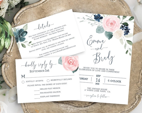 Wedding Invitation Suite, Invite, RSVP, Details Card, Navy and Pink Floral, Editable Corjl Template PPW265