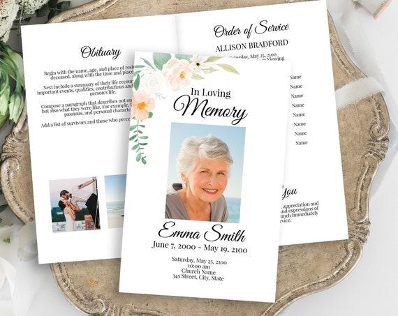 Memorial Program, Celebration of Life, Celebrating the Life of Order of Service, Blush Peach Floral, Editable Corjl Template PPF700