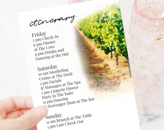 Napa Valley Vineyard Itinerary Template, Wedding Eveent Invitation, Bachelorette Party, Bridal Shower, Winery Editable Template PPW22 BRIX