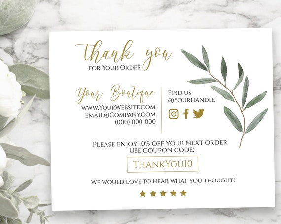 Greenery Business Thank You Note, Editable Thank You Card, Packaging Insert, Printable Customer Note, Gold  SM-TY PPB800