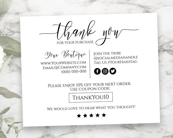 Personalized Business Thank You Note, Elegant Editable Thank You Card, Packaging Insert, Printable Customer Note SM-TY-1 PPB550 GRACE