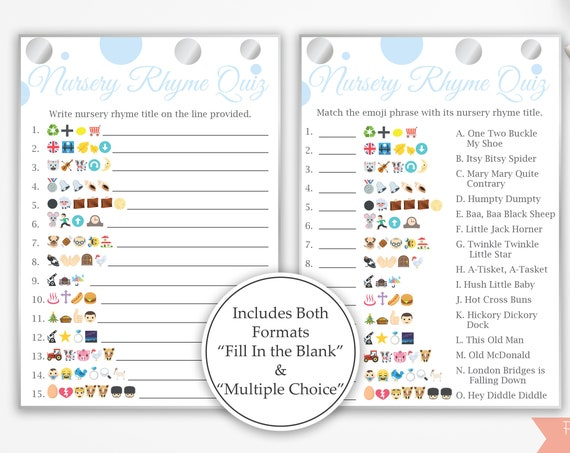 Emoji Nursery Rhyme Quiz ~ Blue and Silver Baby Shower Game ~ Baby Boy Polka Dot ~ Printable Game 21SilverB