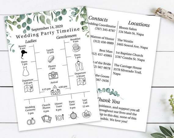 Greenery Wedding Party Timeline Template, Bridesmaid Agenda, Wedding Day Schedule, Groomsmen Itinerary, 100% Editable, Templett PPW0440