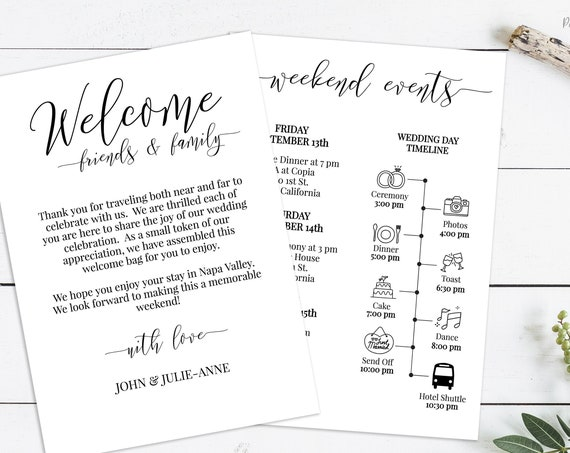 Wedding Welcome Card, Printable Out of Town Timeline, Wedding Day Schedule, Itinerary, Welcome Bag 100% Editable, Templett PPW0550