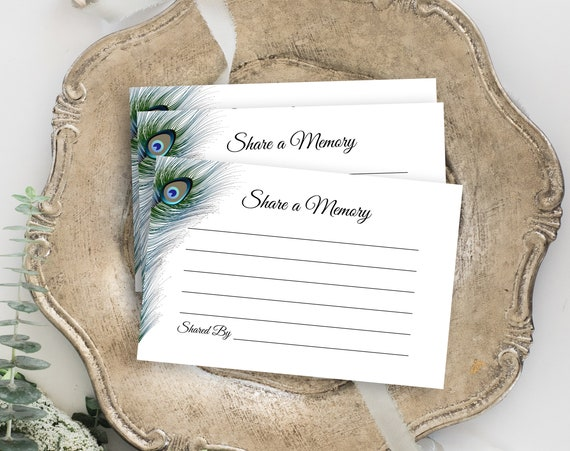 Peacock Feather Memorial Share a Memory Card, Celebration of Life, Funeral Memory Card, Editable Template Corjl PPF4
