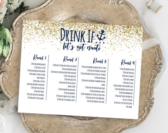 Bachelorette Party Drink If Card Template, Bach Weekend Activity, Drinking Game Nautical, Let's Get Nauti, Bridal Activity MARIN PPW28