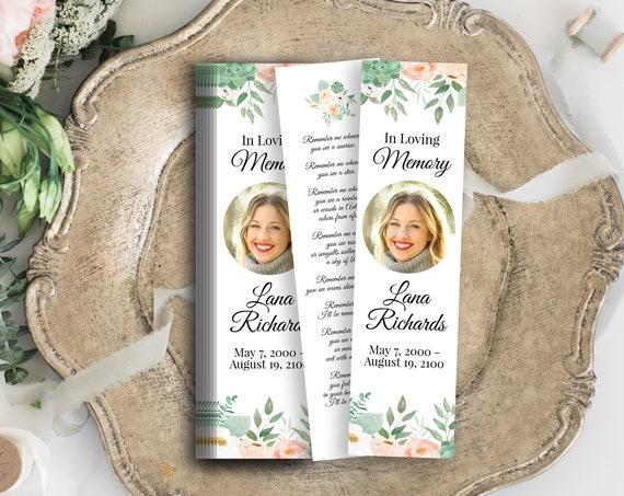 Memorial Bookmark, Celebration of Life, In Loving Memory Funeral Card, Blush Peach Floral, Editable Corjl Template PPF700