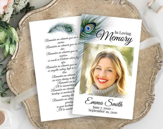 Peacock Feather Memorial Prayer Card, Celebration of Life, Funeral Card, Editable Template Corjl PPF4