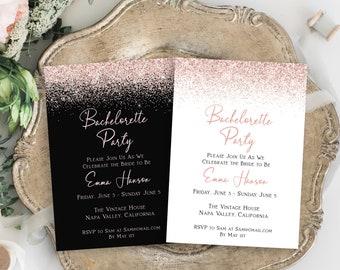 Bachelorette Party Invite, Hen Party Invitation, Bridal Shower, Blush Pink Glitter, 100% Editable Template, Corjl PPW90 PPW92