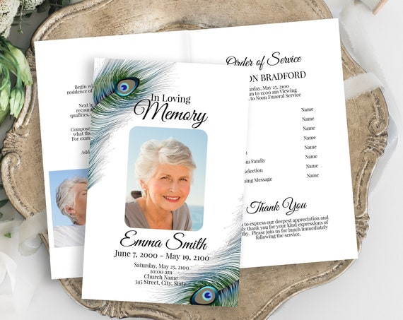 Peacock Feather Memorial Program, Celebration of Life Itinerary, Funeral Card, Editable Template Corjl PPF4