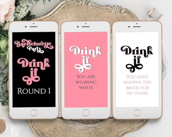 Bachelorette Party Drink If Mobile Game, Electronic Game Cards, Bridal Shower, Modern Retro Design, Pink, Black Bachelorette PPW70