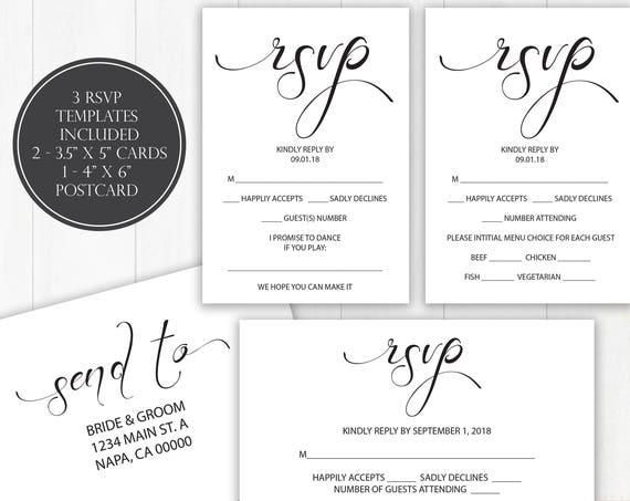 Wedding RSVP Templates, RSVP Postcard, Calligraphy RSVP Cards, Instant Download, 110B