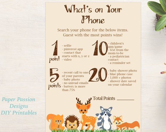 What's on your Phone ~ Woodland Animal Baby Shower Game ~ Gender Neutral Theme ~ Printable Game 0046