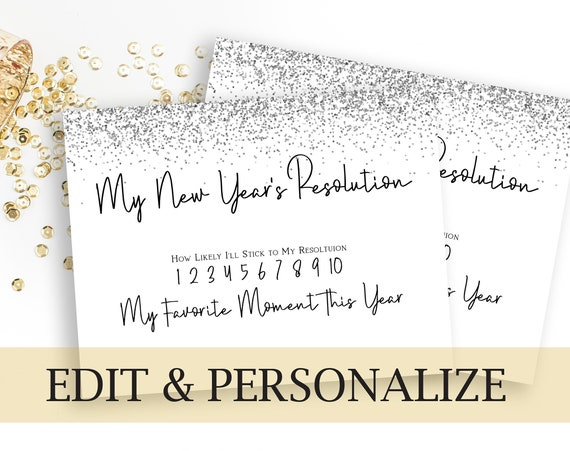 Silver New Year's Resolution Printable, Glitter New Years Resolution Photo Prop , Party Activity, New Year's Eve Party  NEW YEAR