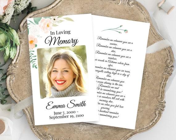 Memorial Prayer Card, Celebration of Life, In Loving Memory Funeral Card, Blush Peach Floral, Editable Corjl Template PPF700