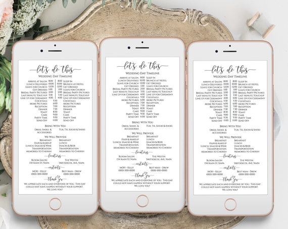 Wedding Party Timeline, Electronic Itinerary, Evite, Digital, Text Message, Email , 100% Editable Template, Corjl PPW0550 Grace