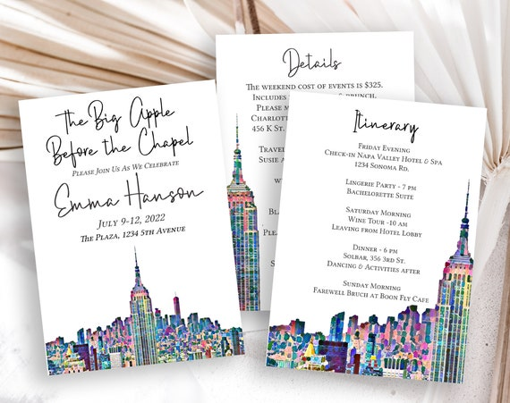 The Big Apple Bachelorette Party Invitation Template, NYC Art Design, Details & Itinerary Card, Hen Party, Bridal Shower PPW42 PARK