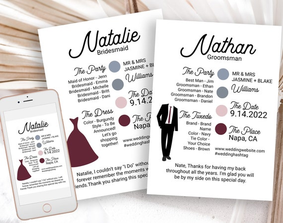 Bridesmaids and Groomsman Information Card Set, Printable Wedding Party Details, Modern MOH Proposal Box Editable ELLA PPW300