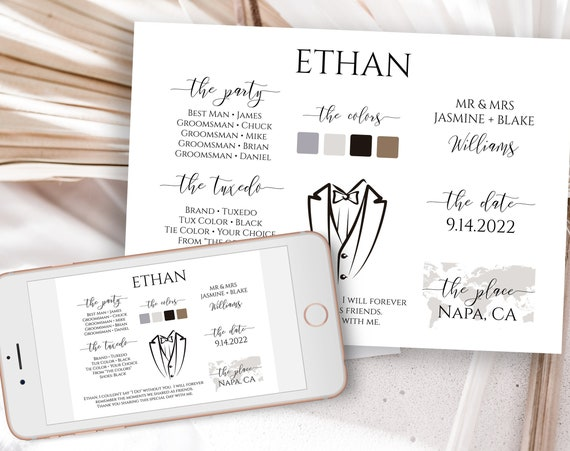 Groomsman Information Card, Printable Best Man Details, Wedding Party Information Editable PPW0550 Grace