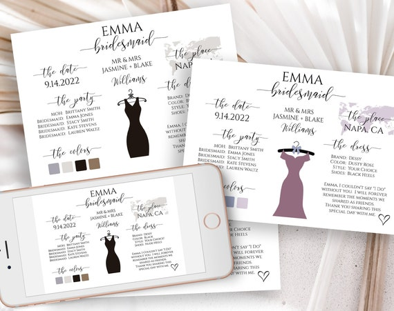 Bridesmaids Information Card, Printable Bridesmaid Details, Letter to Bridesmaid, Maid of Honor Proposal Box Editable PPW0550 Grace