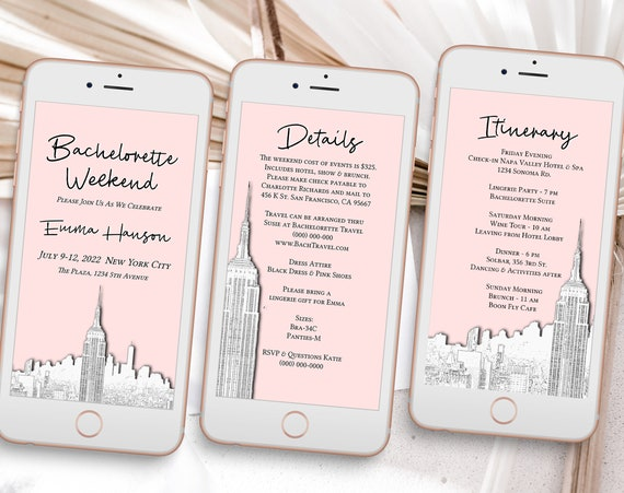 New York City Skyline Sketch, Pink Electronic Invitation Template, Evite, Hen Party, Bridal Shower, Details, Itinerary PPW40 HUDSON
