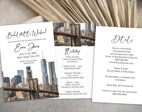 Watercolor Bachelorette Party Weekend Invitation Template, Details, Invite Card, New York City Party, Itinerary, Printable PPW32 BROOKLYN