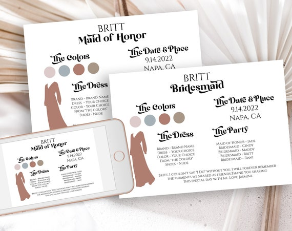 Modern Bridesmaids Information Card, Printable Bridesmaid Details, Letter to Bridesmaid, Retro Maid of Honor Proposal Box Editable PPW74