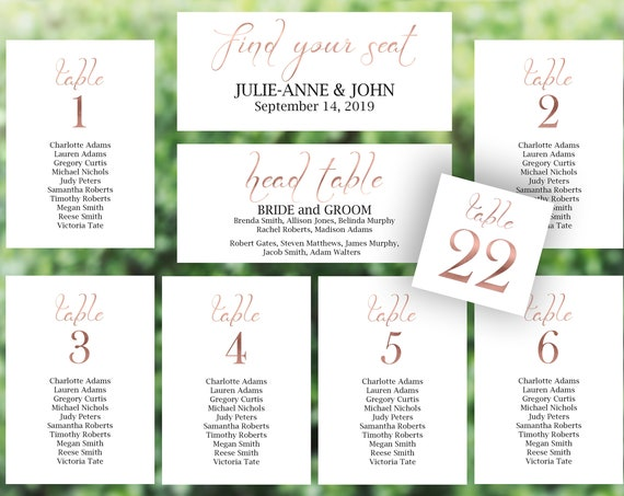 Rose Gold Wedding Seating Chart Package, Seating Cards, Seating Chart Template, Seating Display, Table Cards, PDF Instant Download 110RG