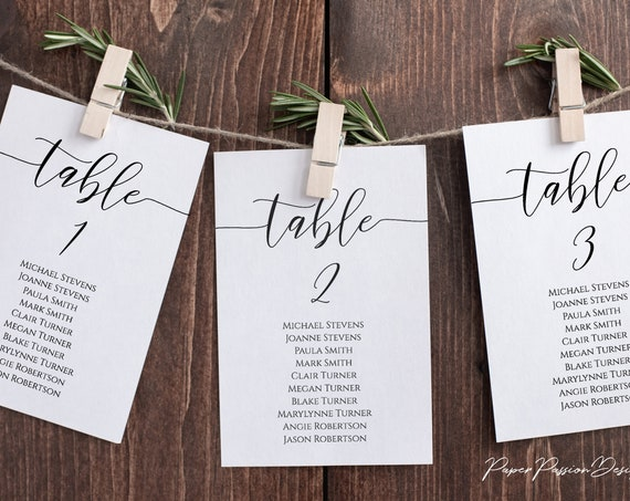 Wedding Seating Table Cards, Poster, Elegant Calligraphy Display 100% Editable Template, Corjl PPW0550