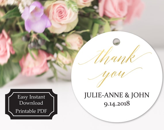 Gold Thank You Tag Template, Wedding Favor Tag, Favor Thank You Tags, Editable Printable,  Instant Download, 120G