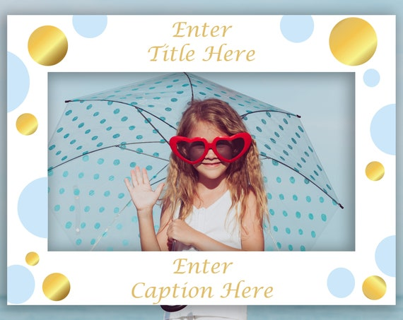 Editable Horizontal Photo Prop Frame, Blue and Gold Photo Booth Prop, Landscape Frame Template, Instant Download PDF  PBGld20