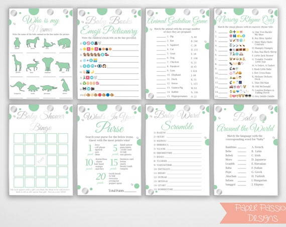 Mint and Silver Game Package ~ Bundle of 8 Games ~ Polka Dot Shower Games ~ Gender Neutral Baby Shower  ~ Printable Game  21SilverM
