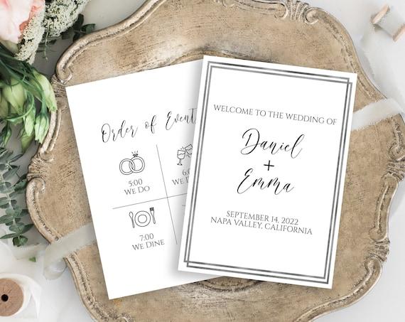 Silver Frame Wedding Fan or Program , Wedding Order of Events, Ceremony Program Wedding Party Editable  PPW-NY21S