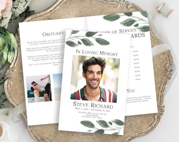 Greenery Memorial Program, Celebration of Life, In Loving Memory Funeral Service, Editable Corjl Template PPF450