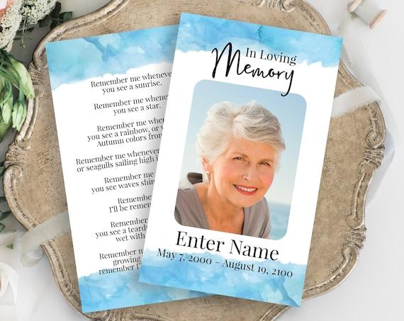Memorial Prayer Card, Blue Water Color Celebration of Life, Funeral Poem Card, Editable Corjl Template PPF600B