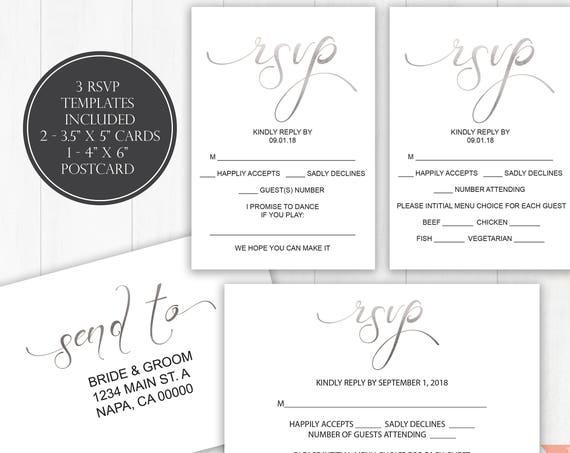 Silver Wedding RSVP Templates, RSVP Postcard, Calligraphy RSVP Cards, Instant Download, 110S