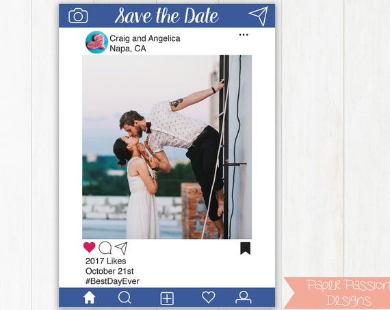 Editable Photo Card, Save the Date, Invitation, Christmas Card, Announcement, Sip and See, Blue Instagram Social Media Design Template