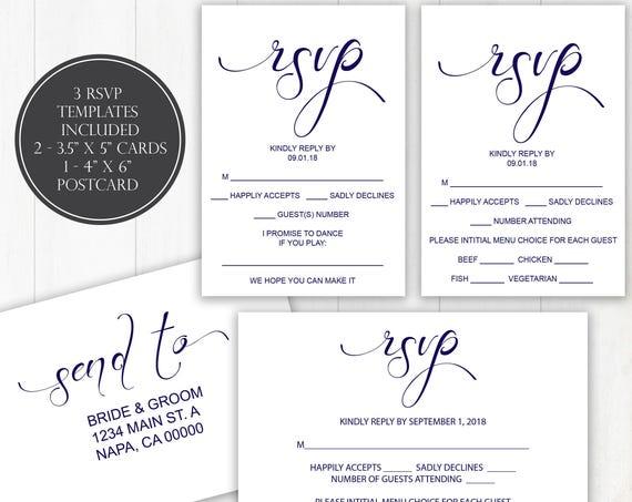 Navy Wedding RSVP Templates, RSVP Postcard, Calligraphy RSVP Cards, Instant Download, 110N