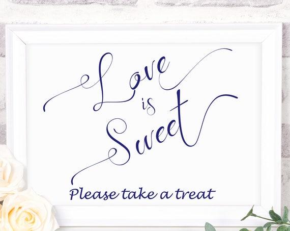 Love is Sweet Navy Blue Sign ~ Wedding Favor Sign ~ Wedding Sign ~ Landscape Sign ~ Bridal Template ~ Instant Download ~ 110N