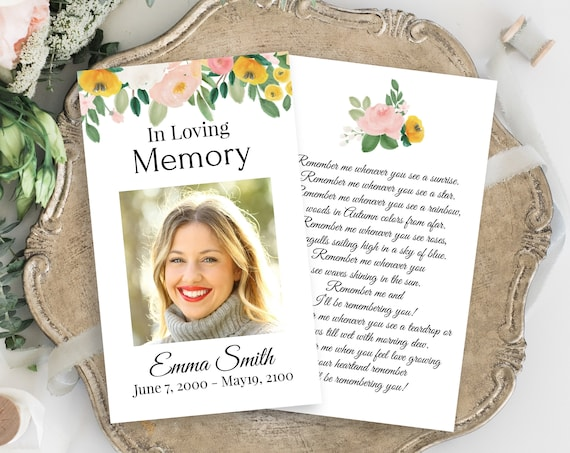 Memorial Prayer Card, Celebration of Life, In Loving Memory Funeral Card, Pink and Yellow Floral, Editable Corjl Template PPF232