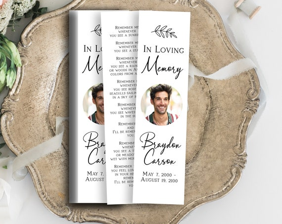 Memorial Bookmark, Celebration of Life, In Loving Memory Funeral Card, Editable Corjl Template PPF575