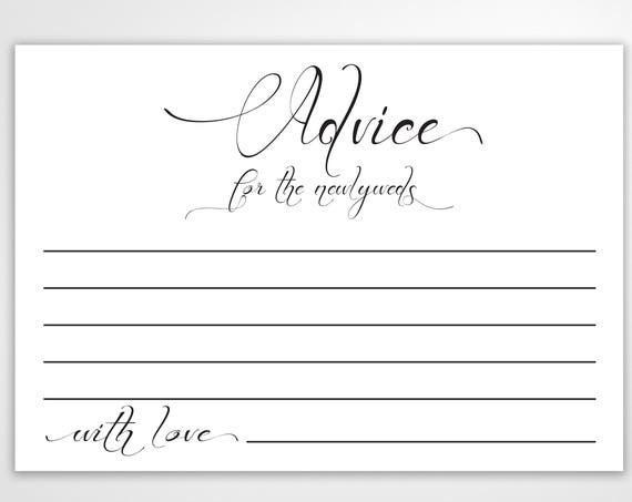 Wedding Advice Cards, Well Wishes Cards,  Leave a note for the Newlywed Cards, Wedding Reception Template, Instant Download PDF, 110B