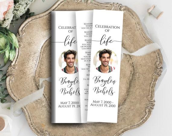 Memorial Bookmark, Celebration of Life, Funeral Poem Card, Editable Corjl Template PPF550